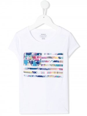 Plaid patchwork T-shirt Ralph Lauren Kids. Цвет: белый