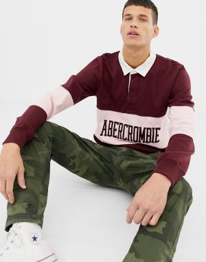Бордовое поло с длинными рукавами и логотипом Abercrombie & Fitch. Цвет: красный