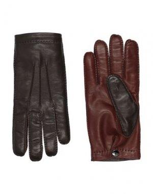 Перчатки SALVATORE FERRAGAMO. Цвет: темно-коричневый