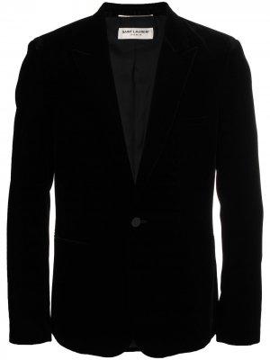 Бархатный пиджак-смокинг Saint Laurent. Цвет: черный