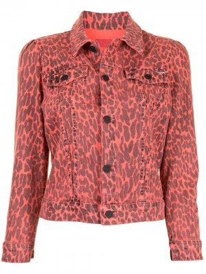 Укороченная джинсовая куртка с леопардовым принтом MOTHER. Цвет: розовый
