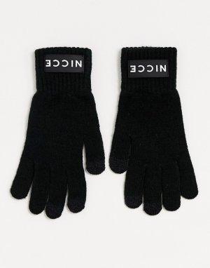 Черные перчатки с логотипом -Черный Nicce
