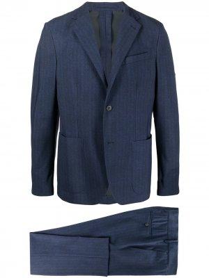 Полосатый костюм с однобортным пиджаком Traiano Milano. Цвет: синий