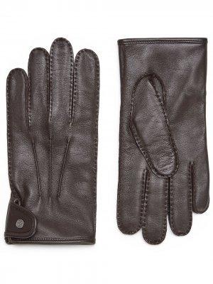 Перчатки с логотипом Ermenegildo Zegna. Цвет: коричневый