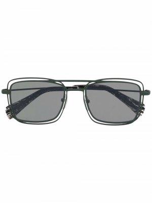 Солнцезащитные очки в квадратной оправе Yohji Yamamoto. Цвет: зеленый