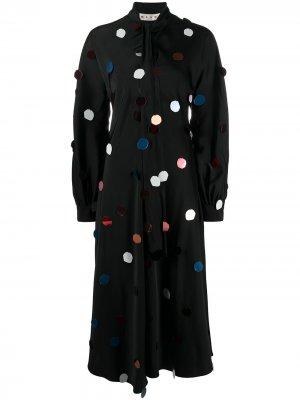 Платье с длинными рукавами и аппликацией в горох Marni. Цвет: черный
