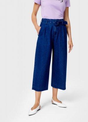 Широкие джинсы с поясом O`Stin. Цвет: синий