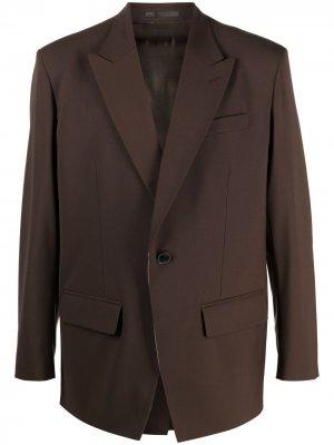 Однобортный пиджак с заостренными лацканами Valentino. Цвет: коричневый