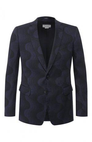 Пиджак из смеси льна и хлопка Dries Van Noten. Цвет: темно-синий