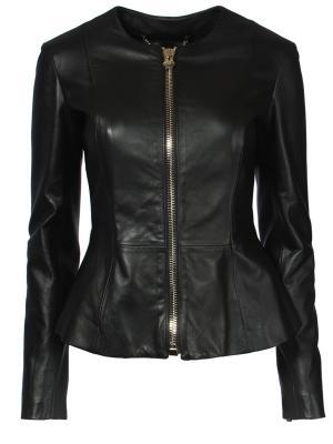 Кожаная куртка с баской Philipp Plein. Цвет: черный
