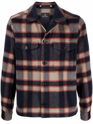 Клетчатая куртка-рубашка на пуговицах PS Paul Smith. Цвет: коричневый