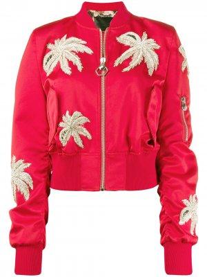 Куртка-бомбер с кристаллами Philipp Plein. Цвет: красный