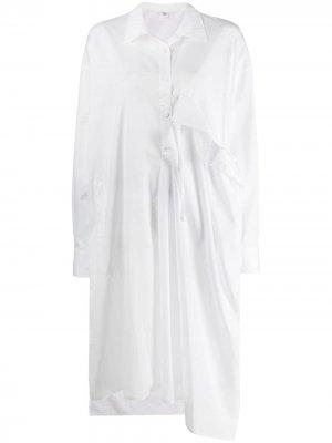 Ys рубашка-туника асимметричного кроя с оборками Y's. Цвет: белый