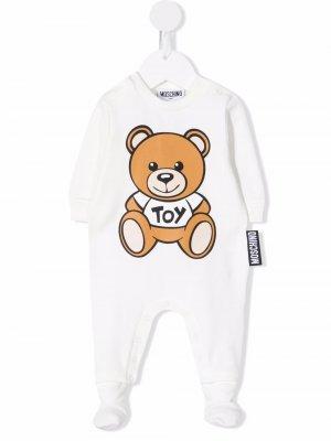 Teddy Bear long-sleeve pajamas Moschino Kids. Цвет: белый