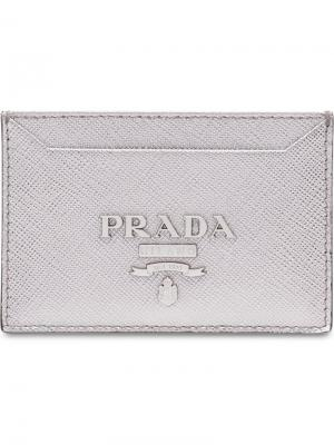 Футляр для кредитных карт Prada. Цвет: металлик