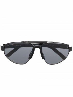 Солнцезащитные очки в овальной оправе Dsquared2 Eyewear. Цвет: черный