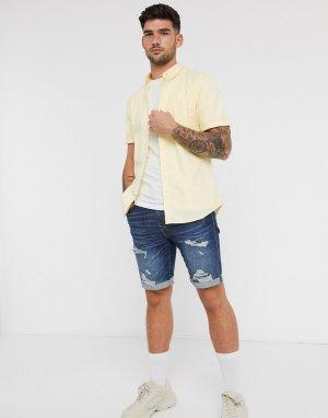 Желтая оксфордская рубашка с короткими рукавами -Желтый New Look