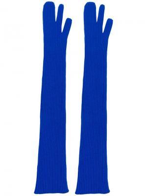 Длинные перчатки в рубчик Maison Margiela. Цвет: синий