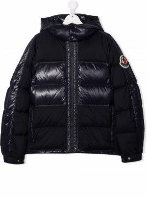 Logo-patch panelled puffer jacket Moncler Enfant. Цвет: синий