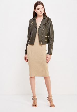 Куртка кожаная Michael Kors. Цвет: хаки