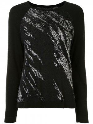 Джемпер с рукавами реглан и абстрактным принтом BCBG Max Azria. Цвет: черный