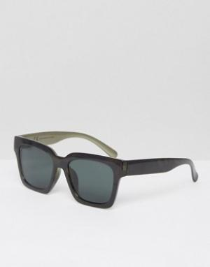 Солнцезащитные очки в квадратной оправе Exit Weekday. Цвет: черный