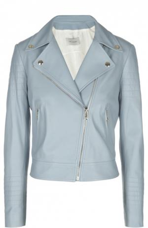 Куртка кожаная Yves Salomon. Цвет: голубой