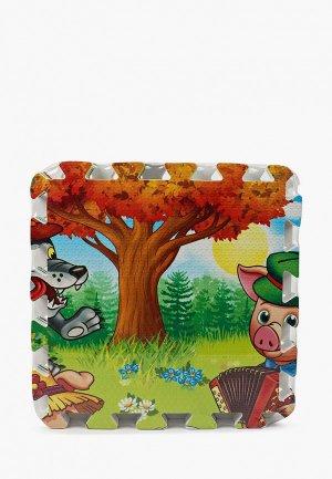 Коврик детский Играем Вместе -пазл Три поросенка, 126х63х1 см (8 деталей). Цвет: разноцветный