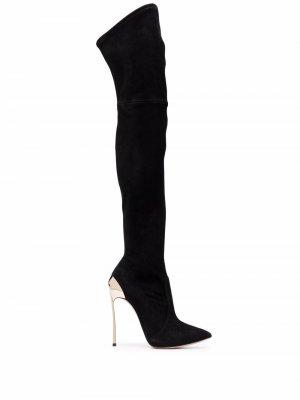 Ботфорты на каблуке Casadei. Цвет: черный