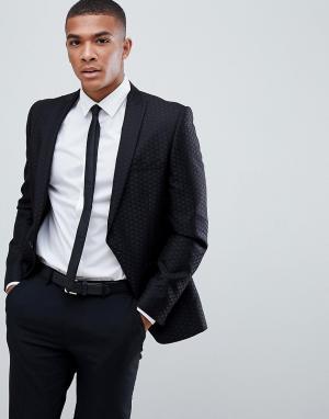 Черный жаккардовый блейзер Burton Menswear