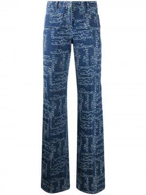 Расклешенные джинсы с завышенной талией и логотипом Giambattista Valli. Цвет: синий