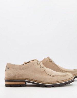 Замшевые туфли песочного оттенка на шнуровке и массивной подошве -Нейтральный Ben Sherman