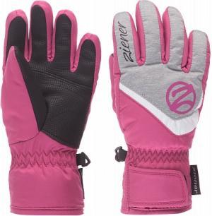 Перчатки для девочек Lorik, размер 3,5 Ziener. Цвет: розовый