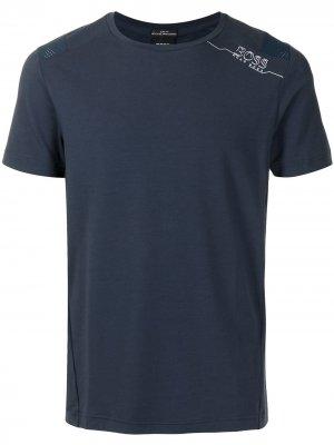 Logo print short-sleeved T-shirt BOSS. Цвет: синий