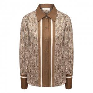 Шелковая рубашка Chloé. Цвет: коричневый