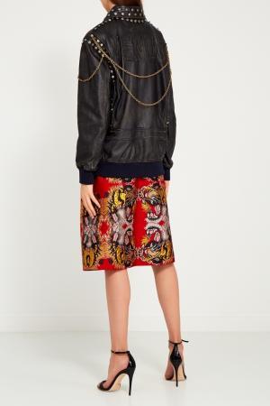 Кожаная куртка с заклепками Gucci. Цвет: черный