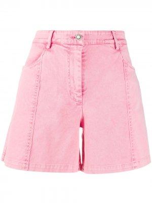 Джинсовые шорты с завышенной талией 8pm. Цвет: розовый