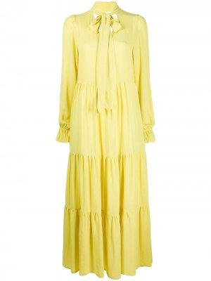 Ярусное платье макси 8pm. Цвет: желтый