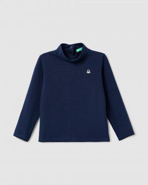 Водолазка с лого Benetton. Цвет: синий