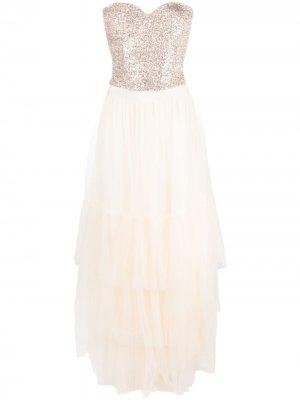 Платье с пайетками Elisabetta Franchi. Цвет: золотистый
