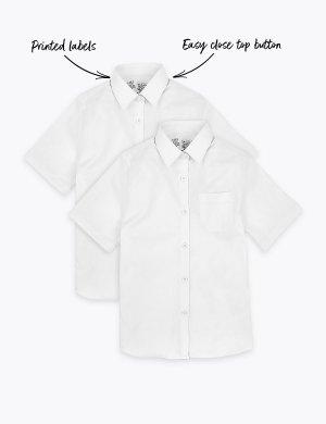 Облегающая школьная блузка из чистого хлопка (2 шт) Marks & Spencer. Цвет: белый
