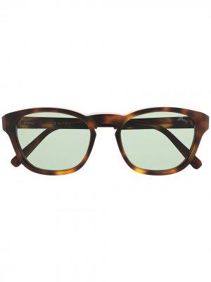 Солнцезащитные очки в оправе черепаховой расцветки Brioni. Цвет: коричневый