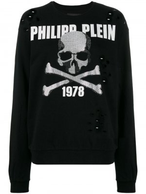 Джемпер с декором Skull и стразами Philipp Plein. Цвет: черный