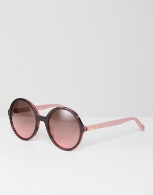 Розовые круглые солнцезащитные очки LOVE Moschino. Цвет: розовый
