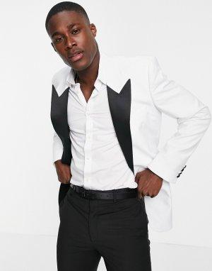 Белый пиджак-смокинг узкого кроя ASOS DESIGN