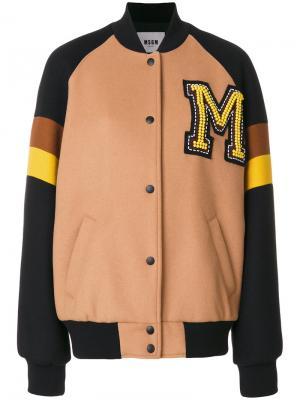 Университетская куртка-бомбер MSGM. Цвет: коричневый