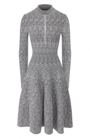 Платье из смеси шерсти и вискозы Alaia. Цвет: черно-белый