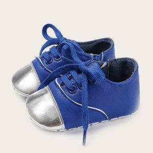 Балетки на шнурках для мальчиков SHEIN. Цвет: синий