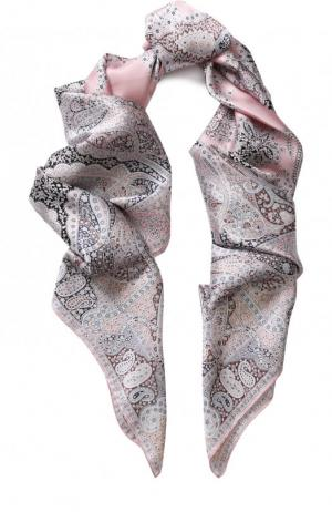 Шелковый платок с принтом Michele Binda. Цвет: светло-розовый