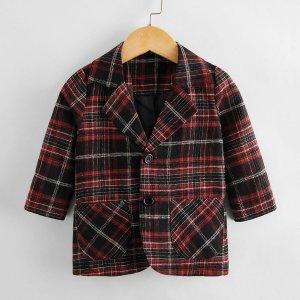 Пиджак в клетку с пуговицами и лацканами для мальчиков SHEIN. Цвет: многоцветный